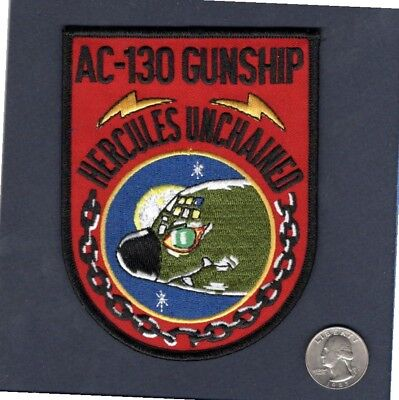 LOCKHEED C-130 AC-130 HERCULES GUNSHIP UNCHAINED USAF SQUADRON PATCH