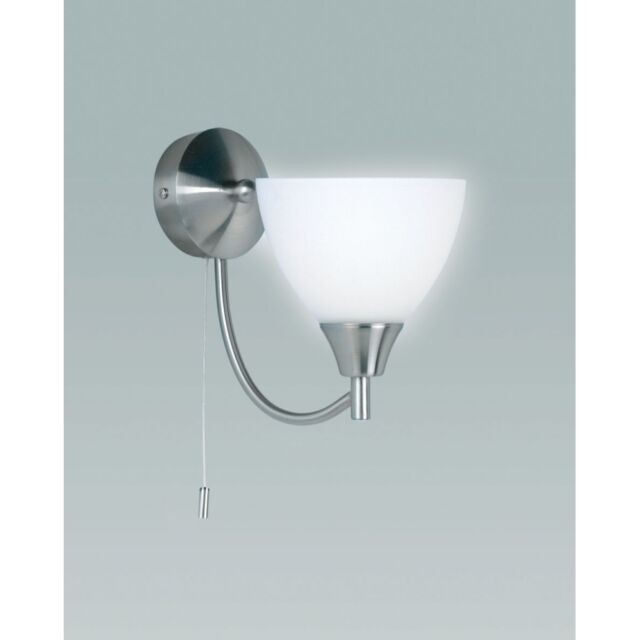 Traditional Single Wall Light In Satin Chrome With Opal Glass Shade Pull Switch