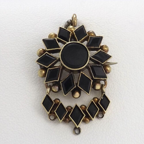 Victorian 14k Gold Onyx Star Sun Burst Dangle Brooch Pin Mourning Pendant