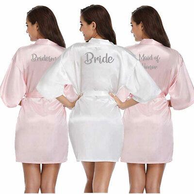 Personalised Bride Wedding Satin Silk Kimono Robe Bridesmaid Dressing Party Gown - Personalized Wedding Robes