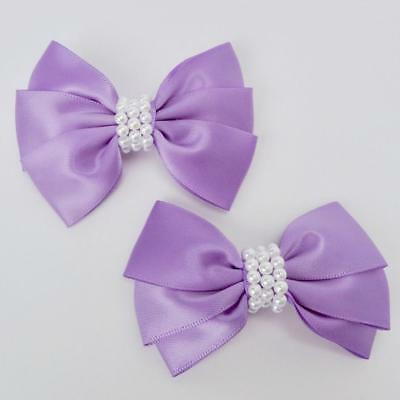 """Girls Set of 2 Satin Hair Bow Clips 3"""" Long- Purple for sale  Shipping to India"""