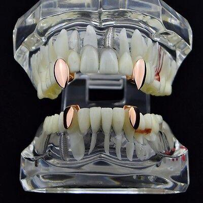 Vampire Fang Set Top Fangs & Two Bottom Caps 14k Rose Gold Plated Dracula Teeth](Vampire Teeth Caps)