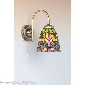 Traditional Antique Brass 1 Light Wall Light Glass Colored