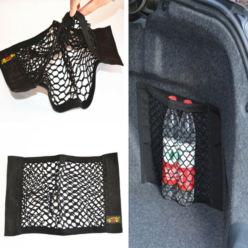 Car Trunk Seat Rear Storag Elastic Black Bag Pouch Pocket Organizer 17.8*9.8in