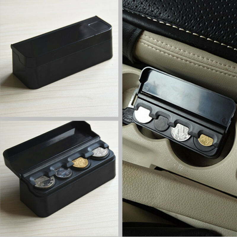 1x Car SUV Interior Plastic Coin Case Storage Stored Box Holder Container Black