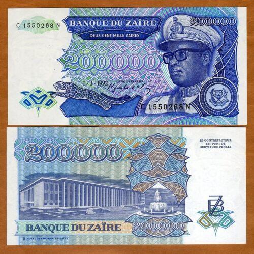 Zaire, 200,000 (200000) Zaires, 1992, P-42, UNC