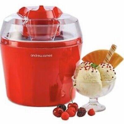 Andrew James 1.5 Litre Ice Cream Maker Sorbet & Frozen Yoghurt Machine - Red