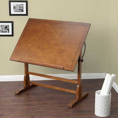 "Adjustable Vintage Drafting Table Rustic Oak 42"" Drawing Base Architect Wood New"
