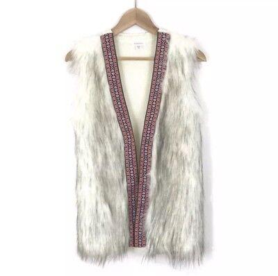 Faux Taper (Xhilaration Women's White Faux Fur Vest Boho Embroidery Tape Trim Size XS)