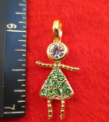 14KT GOLD EP GIRL AUGUST PERIDOT  PAVE BIRTHSTONE KIDS PENDANT CHARM