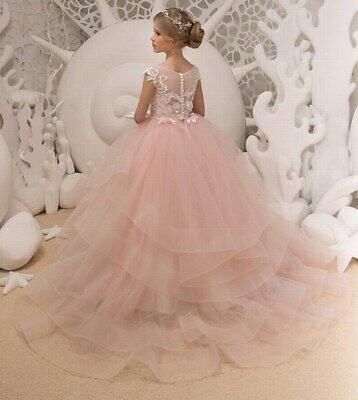 Princess Communion Dresses (Formal First Communion Princess Gowns Kids Flower Girl Dresses for Wedding)