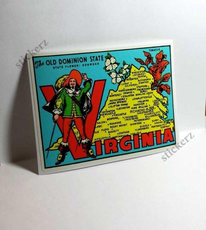 Virginia Vintage Style Travel Decal / Vinyl Sticker, Luggage Label
