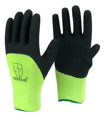 5 Pairs Safeguard High Visible Green Knit Latex Palm Coated Nylon Work - Latex Palm Coated Knit Gloves