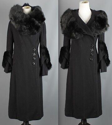 Vtg Women's 1930s Black Wool Coat w/ Full Fur Collar & Cuffs 30s Size M #1284