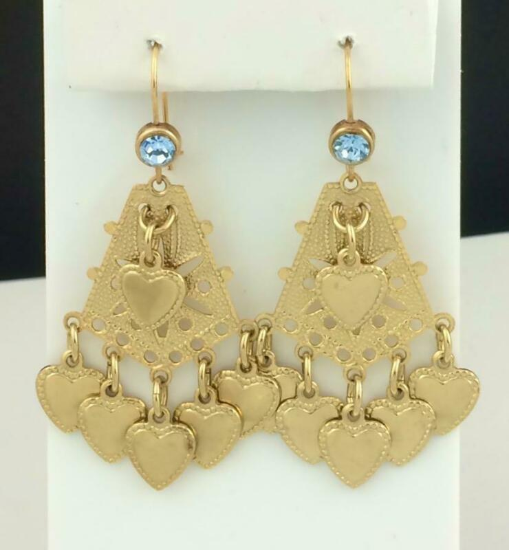 Vintage Gold Tone Heart Dangle Earring with Light Blue Crystal Top