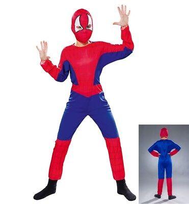 Spinnenheld Kostüm Kinder mit Maske Spinne Mann Man Junge Spider Hero Jumpsuit ()