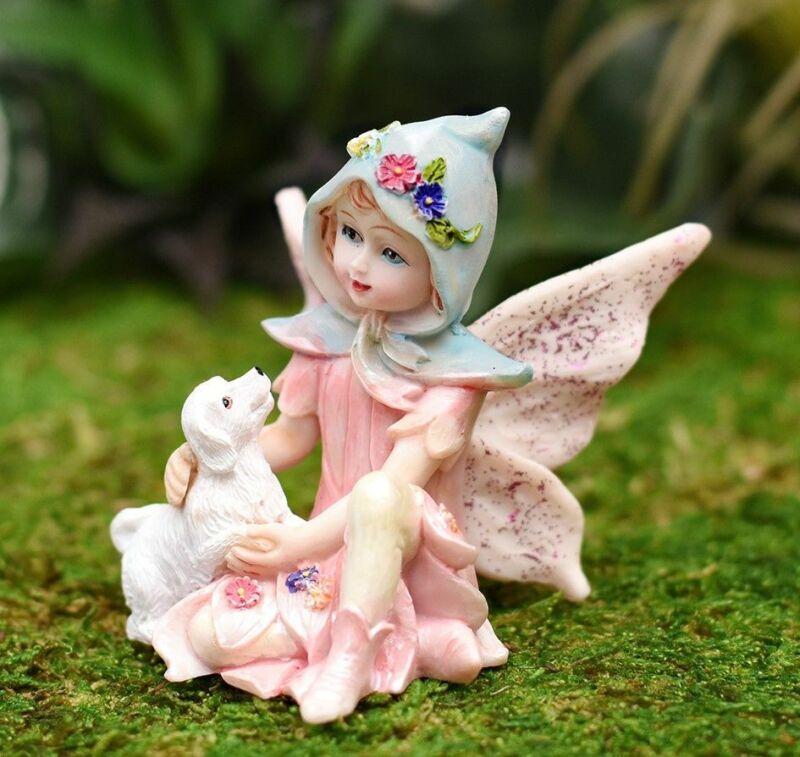 Miniature Dollhouse Fairy Garden Hooded Fairy w/ Puppy - Buy 3 Save $5