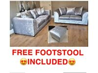 🚛FREE DELIVERY🚛BRAND NEW CRUSHED VELVET 3+2 SET WITH FREE MATCHING FOOTSTOOL INCLUDED✅