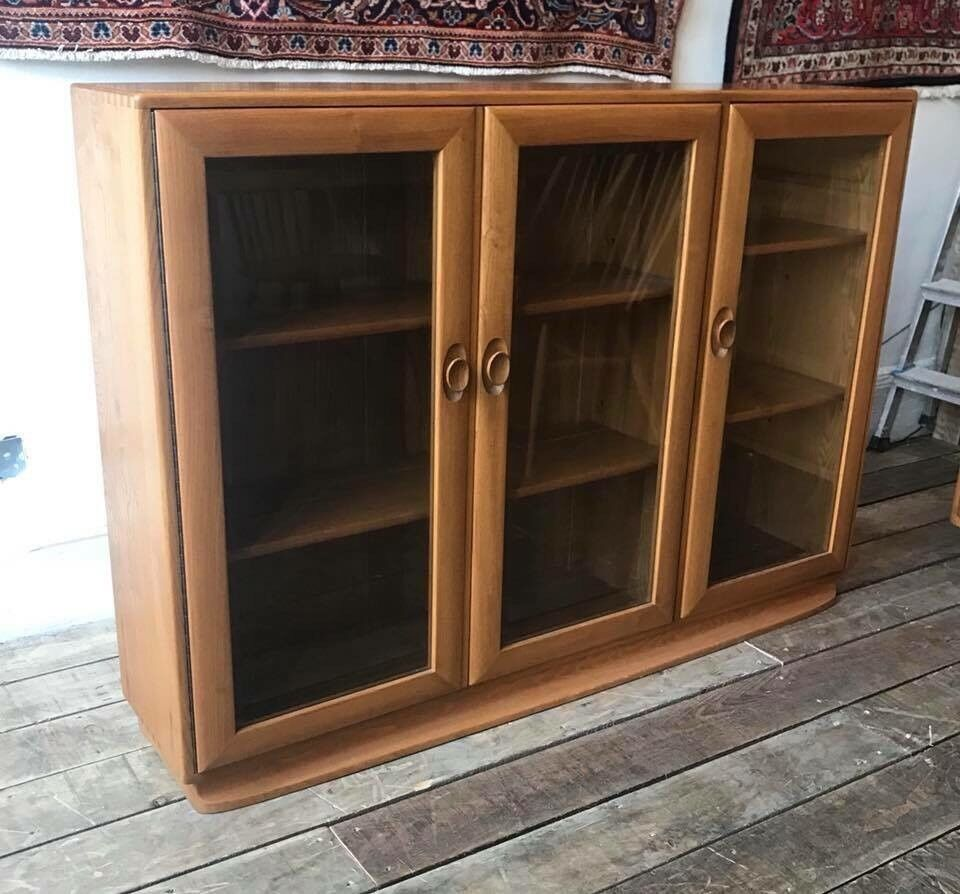 Ercol Elm Glass Front Bookcase- Mint Condition