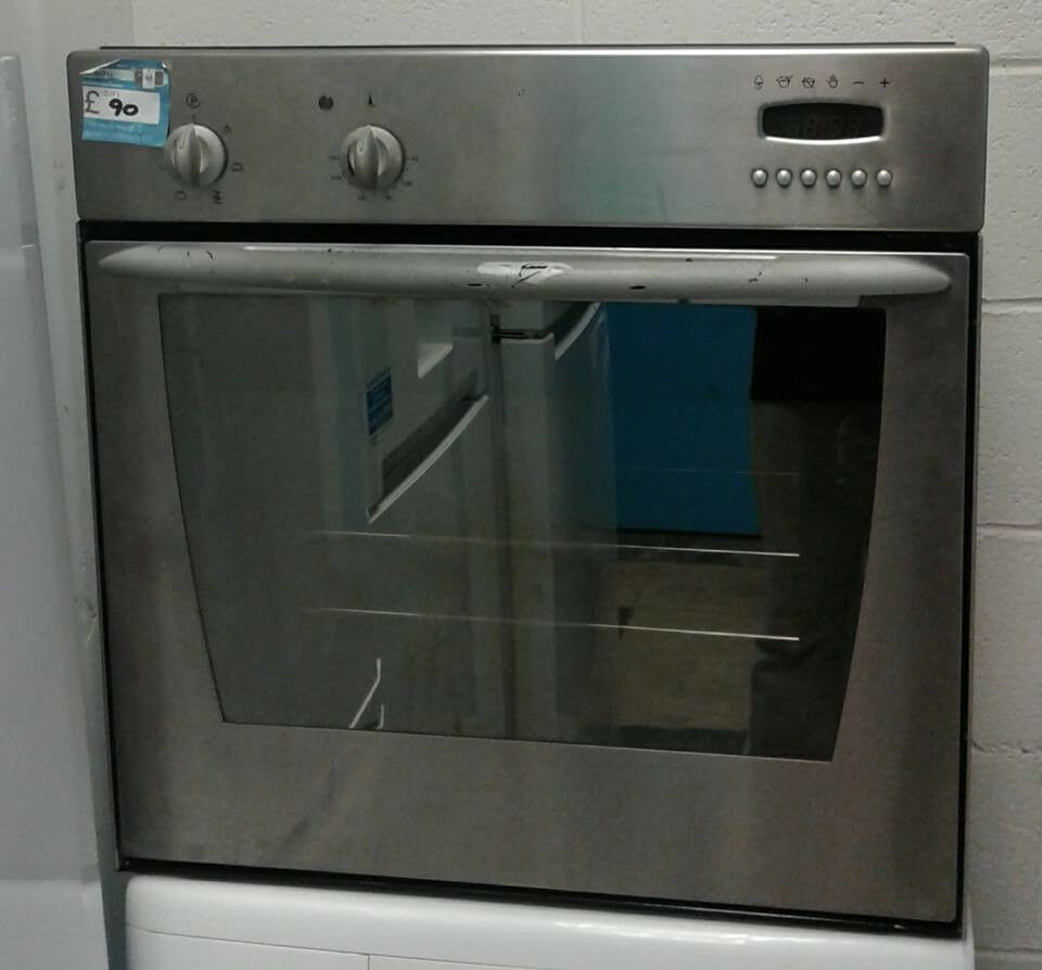 H197 stainless steel indesit single electric oven comes with warranty can be delivered or collected