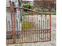 Gorgeous Vintage Solid Ssteel & Wrought Iron Double Gates