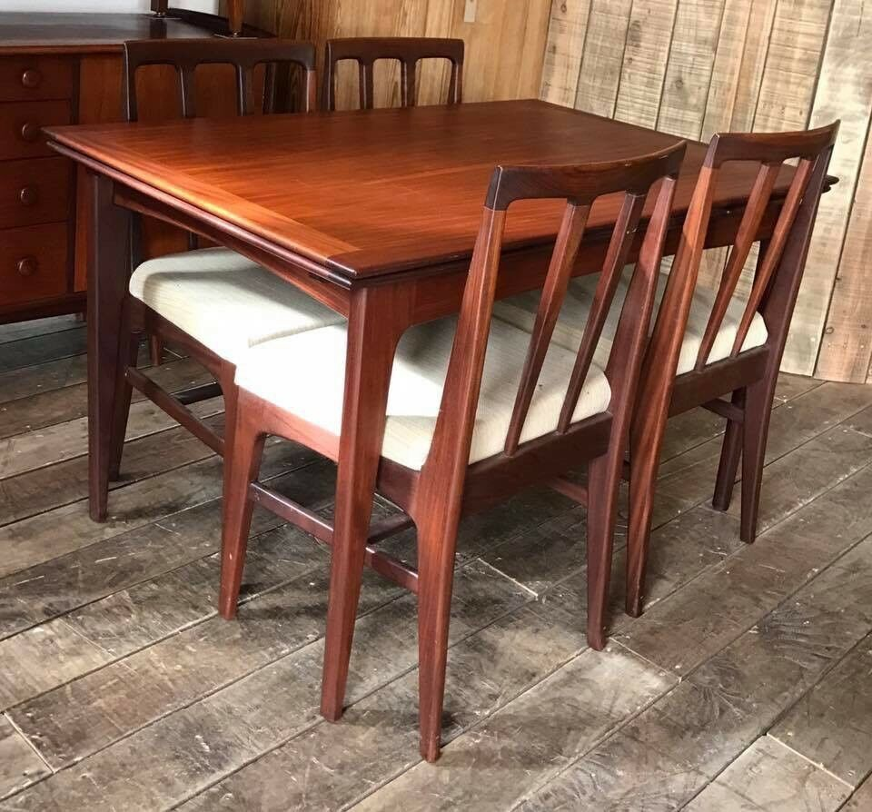 Mid Century Vintage Extending Draw Leaf Dining Table With