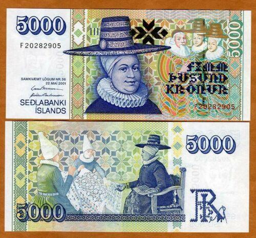 Iceland, 5000 (5,000) Kronur 2001, P-60, Two Signatures, Gem UNC