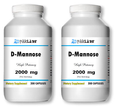 D-Mannose High Potency 2000mg/500mg 400 Capsules High Quality 2x GIANT BOTTLES D-mannose 500 Mg Capsule