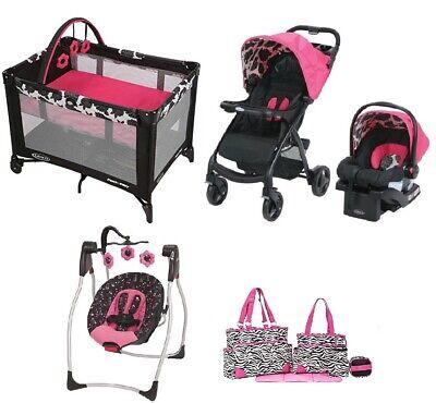 Stroller with Car Seat Nursery Center Diaper Bag Baby Girl Best Combo Travel