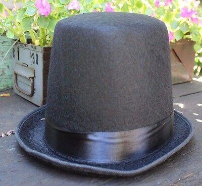 New MENS Black Mad Hatter Steampunk Victorian Pimp Costume Halloween Top Hat](Steampunk Mad Hatter Costume)