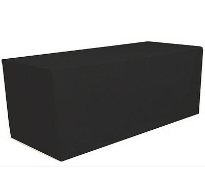 6' ft. Fitted Polyester Tablecloth Table Cover Wedding Banquet Party Black