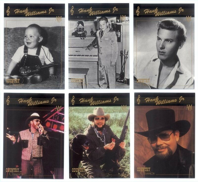 Vintage 1992 Set of 6 Hank Williams Jr COUNTRY CLASSICS Trading Cards