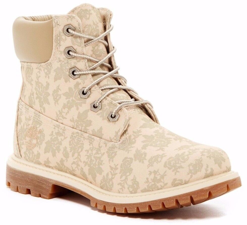 Timberland Women's 6-Inch Premium Canvas Boots Floral Fabric Size 8.5 M