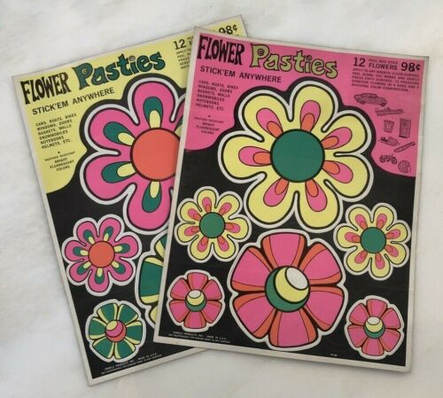 1960s FLOWER POWER Vinyl DECALS Hippie VINTAGE Original RETRO Groovy Pasties