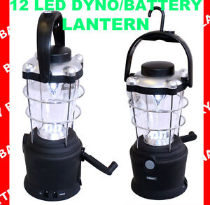 12 LED WIND UP DYNO / BATTERY LANTERN RECHARGEABLE CAMPING LIGHT LAMP TORCH