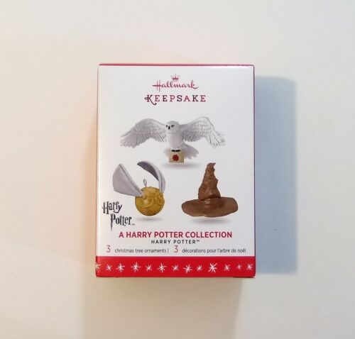 Hallmark 2016 A Harry Potter Collection Miniature Ornament Set Hedwig Snitch Hat