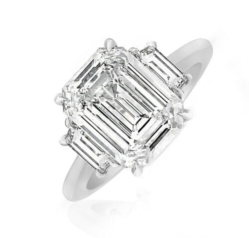 Platinum Emerald Cut GIA Certified 3 Stone Diamond Engagement Ring 2.80 CT
