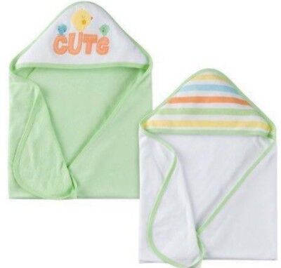GERBER Newborn Baby Unisex 2-Pack Cotton/Poly Hooded Towels - Green - Birds  NWT](Hooded Towel)