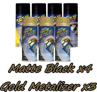 Performix Plasti Dip Premium Wheel Kit 4 Matte Black3 Gold Metalizer Can Free Sh