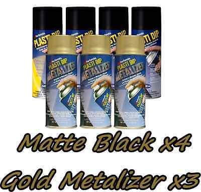 Performix Plasti Dip Premium Wheel Kit 4 Matte Black3 Gold Metalizer Can Free Sh