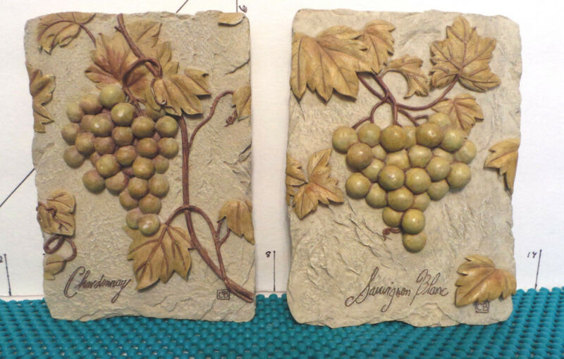 Decorative Wall Plaques, Chardonay & Sauvingion Blanc Grapes, Boem,Signed CB