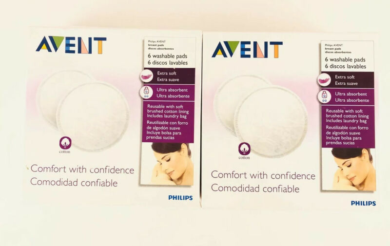 Lot Of 2! Philips AVENT Washable Nursing Pads, 6-Count Each, New