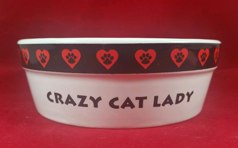 """CRAZY CAT LADY"" FOOD WATER BOWL BY ""SIGNATURE"" NEW w/ PARTIAL STICKER  5"" X 1.5"