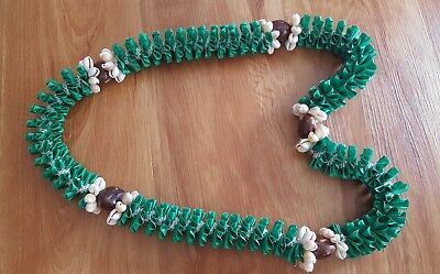 Wedding Grad Beautiful Hawaiian Green with Cowrie Shells & Kukui Nut Ribbon Lei