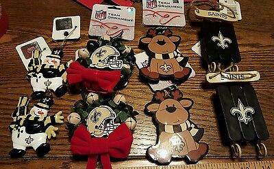 Set of 8 New Orleans SAINTS NWT by NFL forever collectibles Christmas ornaments  - New Orleans Saints Christmas Ornaments