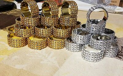 Rhinestone napkin ring 12 pieces .Gold- Best offers for large qty only](Gold Napkin Rings)