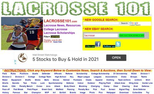 LACROSSE101.COM  Great LACROSSE Domain name+ monetized website!  MUCH TRAFFIC!
