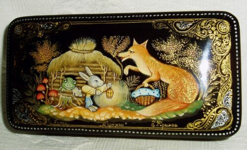 Russian Lacquer box Palekh Fairy tale The Wooden House miniature Hand Painted