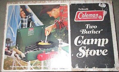 6/78 Coleman 425E Two Burner Camp Stove <> box & instructions
