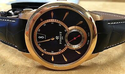 New Perrelet A3009/5 Jumping Hour 18k Solid Gold Black Dial Watch List $17,700